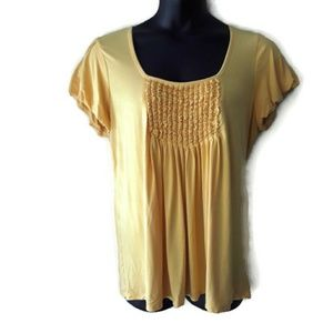 Style & Co Yellow Short Sleeve Plus Size Top